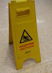 Wet floor warning sign